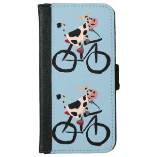 Funny Cow Riding Bicycle Art iPhone 6 Wallet Case