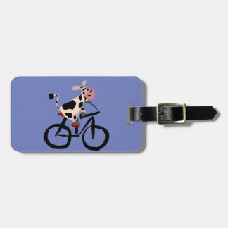 Funny Cow Riding Bicycle Art Luggage Tag