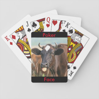 Funny Cow Sticking Out Tongue Poker Face Humourous Playing Cards