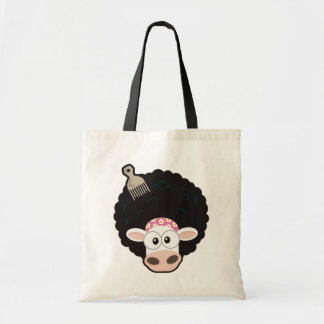 Funny Cow with an Afro and Comb on Pink Budget Tote Bag