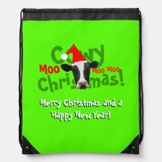 Funny Cowy Christmas Santa Cow Backpacks