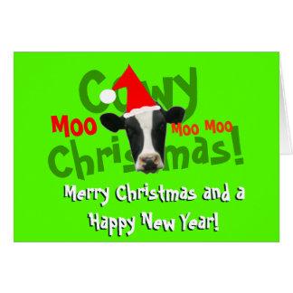 Funny Cowy Christmas Santa Cow Cards