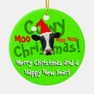 Funny Cowy Christmas Santa Cow Christmas Ornament