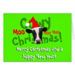 Funny Cowy Christmas Santa Cow Greeting Card
