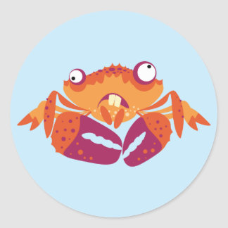 Funny Crab Classic Round Sticker