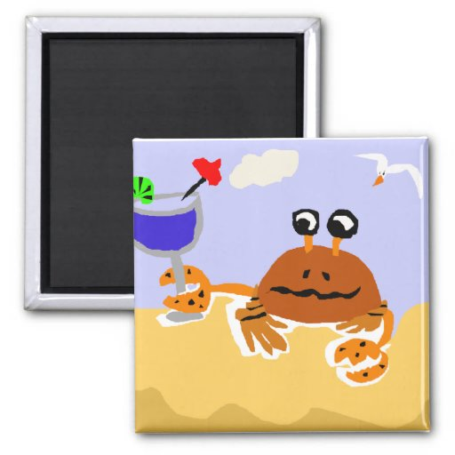 Funny Crab Drinking Margarita Beach Art Fridge Magnet