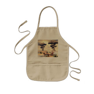 Funny crab on a little island kids apron