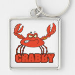 funny crabby red crab with an attitude keychain