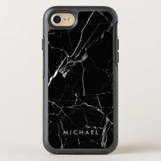 Funny Cracked Black Marble Texture Custom Name OtterBox Symmetry iPhone 8/7 Case