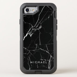 Funny Cracked Black Marble Texture Name OtterBox Defender iPhone 7 Case