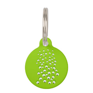 Funny Crazy and Curious Green Eyed Monster Pet Tag