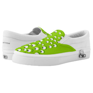Funny Crazy and Curious Green Eyed Monster Slip-On Shoes