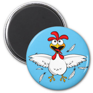 Funny Crazy Cartoon Chicken Wing Fling 6 Cm Round Magnet