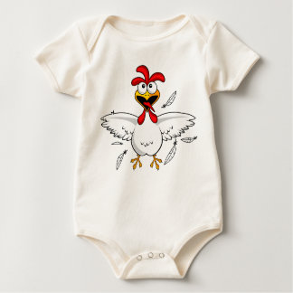 Funny Crazy Cartoon Chicken Wing Fling Baby Bodysuit