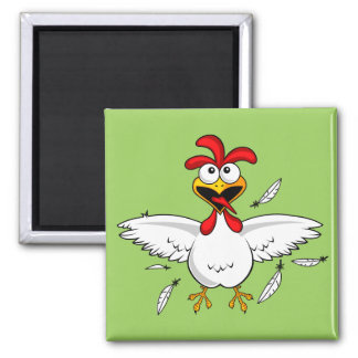 Funny Crazy Cartoon Chicken Wing Fling Square Magnet