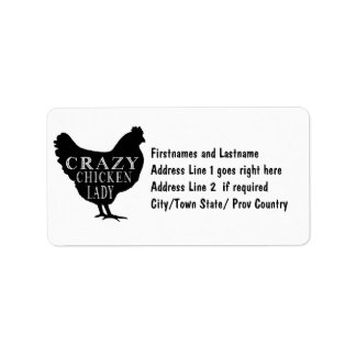Funny Crazy Chicken Lady Poultry Lover Address Label