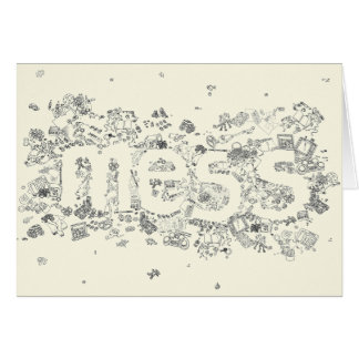 Funny Creative Family Mess Text Line Drawing Art Card