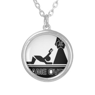 Funny Credit Card Game Over Silver Plated Necklace