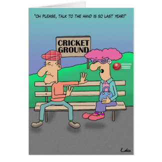 Funny Cricket Ground Cartoon Card. Greeting Card
