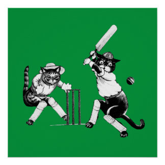 Funny cricketing cat poster