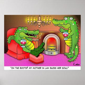 Funny crocodile cartoon den poster