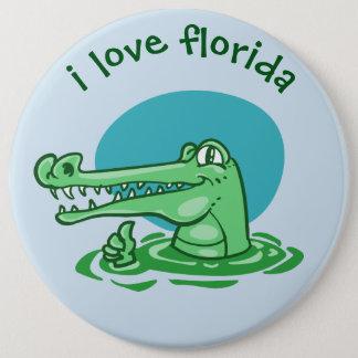 funny crocodile i love florida cartoon 6 cm round badge