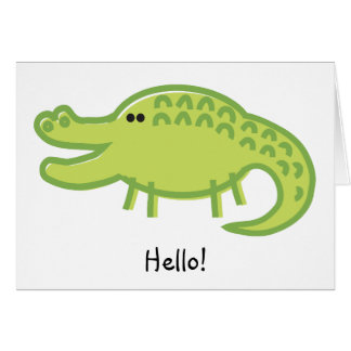 Funny Crocodile on White Card