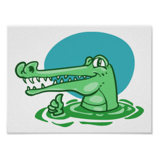 funny crocodile shown ok sign cartoon