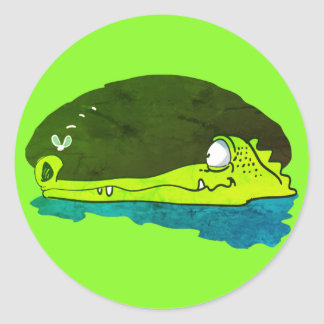 funny crocodile wathes fly cartoon classic round sticker