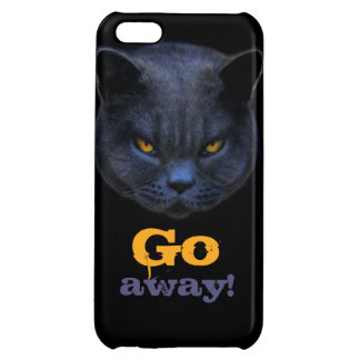 Funny Cross Cat says Go Away iPhone 5C Cases