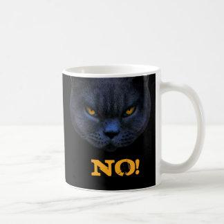 Funny Cross Cat says NO! Basic White Mug