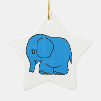 Funny cross-stitch blue elephant christmas ornament