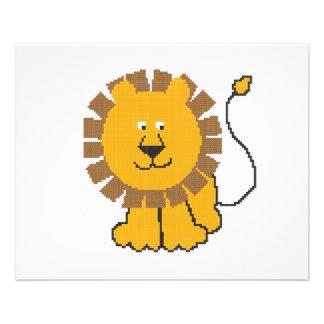 Funny cross-stitch cartoon Lion 11.5 Cm X 14 Cm Flyer