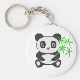 Funny cross-stitch panda basic round button key ring