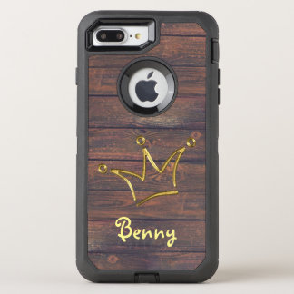 Funny Crown gold + your backgr. & text OtterBox Defender iPhone 7 Plus Case