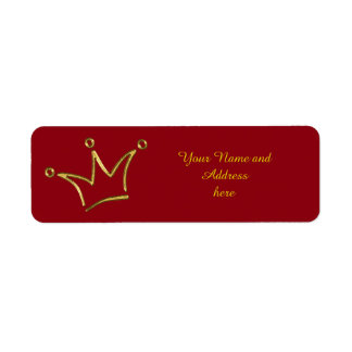 Funny Crown gold + your backgr. & text Return Address Label
