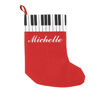 Funny custom Christmas stocking with piano keys