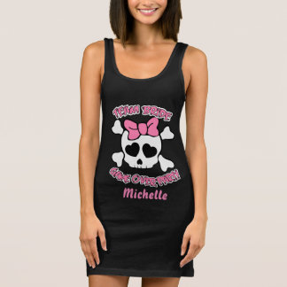 Funny custom girly skull sleeveless dress