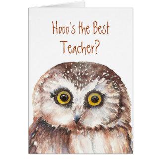 Funny Custom Teacher?Birthday, Wise Owl Humor Greeting Card