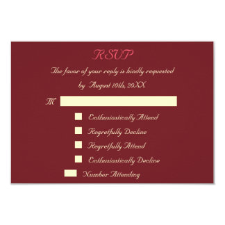 Funny Custom Wedding RSVP Invitation Card Marsala