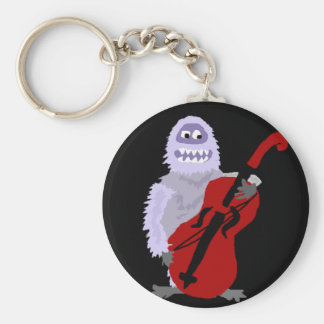Funny Cute Abominable Snowman with Cello Key Ring