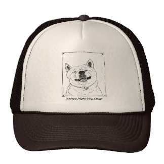 funny cute akita smiling realist dog art cap
