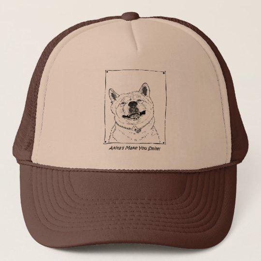 funny cute akita smiling realist dog art trucker
