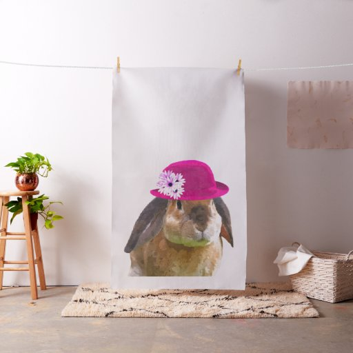 Funny cute animal rabbit watercolor kids fabric