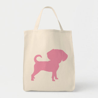 Funny Cute Big Head Puggle Dog (pink) Grocery Tote Bag