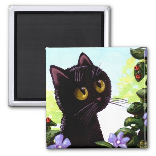 Funny Cute Black Cat Art Ladybug Creationarts Square Magnet