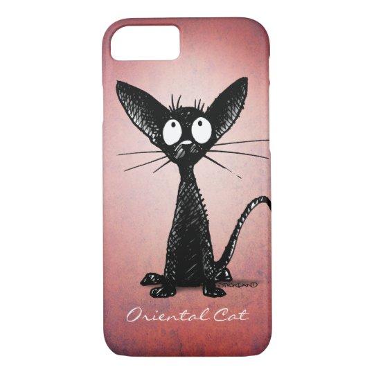 Funny Cute Black Oriental Cat Art on Pink