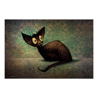Funny Cute Black Oriental Cat Poster