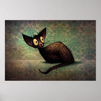 Funny Cute Black Oriental Cat Poster