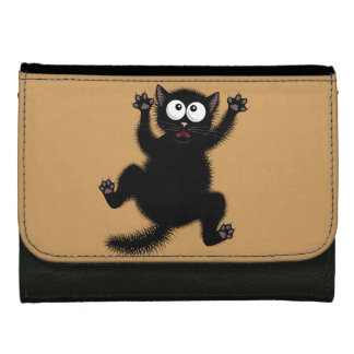 Funny Cute Black Scared Cartoon Cat, kitten Leather Wallet For Women